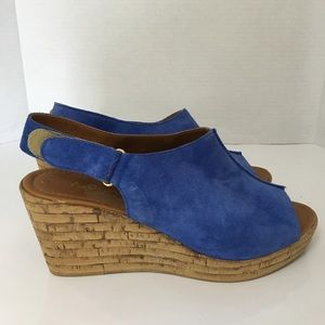 A Giannetti wedge sandals 9 Blue Suede cork Mules